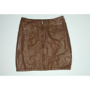 BROWN ZIP UP RETRO LEATHER MINI SKIRT